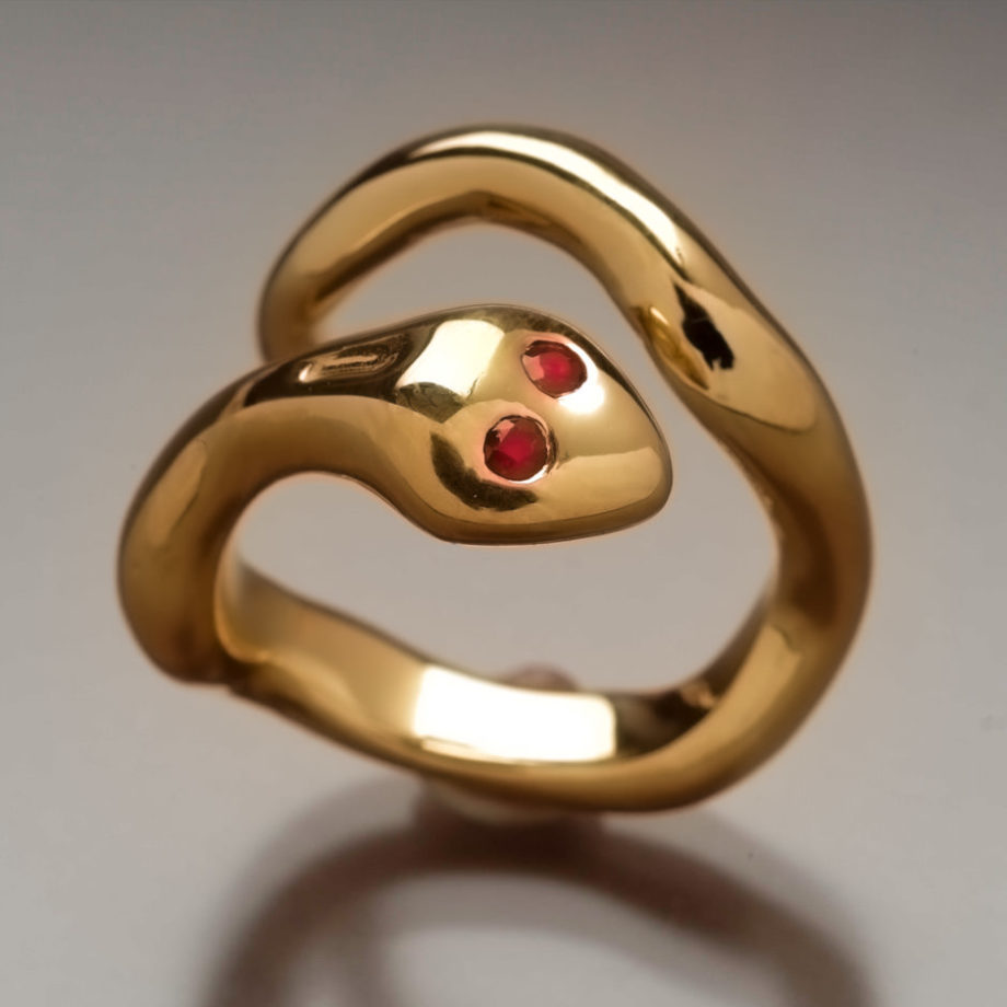 Gold and Ruby Snake Ring